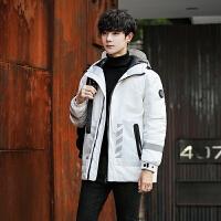 2018冬季羽绒服男短款潮流反光条纹休闲青年加厚保暖户外滑雪外套新品