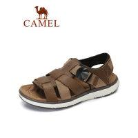 camel骆驼男鞋2019夏季新品男士休闲透气舒适沙滩拖鞋双底皮质耐磨凉鞋