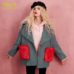 妖精的口袋红心骑士冬装新款翻领可脱卸中长款毛呢外套女