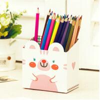 DIY可爱动物桌面收纳盒桌面笔筒纸质文具收纳盒 随机色收纳盒收纳箱