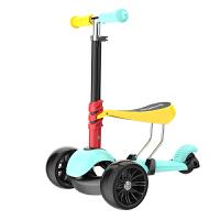 儿童滑板车3轮三合一可坐可滑闪光-2岁溜溜车6岁滑滑玩具男孩女 缤纷彩色 篮黄色 送牵引绳