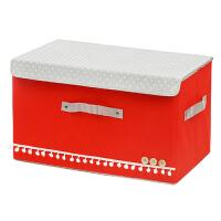 超大号田园布艺扣扣收纳箱/收纳盒--大红色