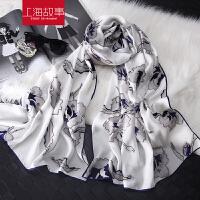 超大素色印花花朵围巾两用女冬季韩版百搭纱巾夏沙滩丝巾围巾披肩