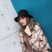 韩版文艺渔夫帽子女 黑色时尚休闲毛线帽 百搭针织帽女士新款羊毛盆帽