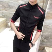 男士短袖衬衣 修身 夏季帅气学生衣服韩版修身型潮流衬衫七分中袖