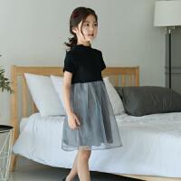 女童夏季裙子2018新款韩版洋气公主蓬蓬裙中大童短袖连衣裙儿童装