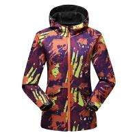 户外女士迷彩软壳冲锋衣单层修身连帽抓绒开衫防水西藏保暖登山服