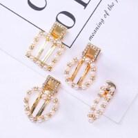 新款创意款女式手工编织韩国网红ins发卡金属珍珠水钻发夹发饰