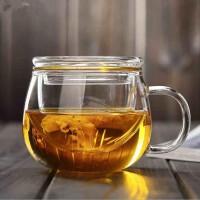 水杯杯子泡茶杯耐热玻璃茶具带盖过滤透明办公水杯花茶杯耐高温圆趣三件杯