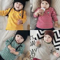 女婴儿童秋衣服秋装0岁1个月男宝宝加绒保暖T恤打底衫秋冬装