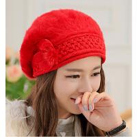 兔毛帽子可爱时尚女帽冬天女士帽子 冬天帽子女韩版 秋冬贝雷帽