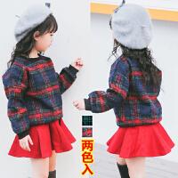 **儿童装女童长袖毛呢两件套装裙韩版时尚潮2018春冬装新款
