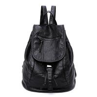 包包2018新款欧美软皮时尚潮流双肩包女包休闲背包两用旅行书包袋 黑色 财神包 格子 加侧袋