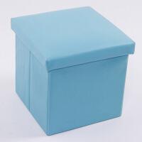 普润 PU皮收纳凳 储物凳 换鞋凳 收纳箱 蓝色