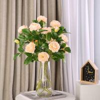 仿真牡丹花假花室内客厅落地装饰品干花摆件玫瑰花束婚庆绢花插花