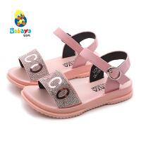 芭芭鸭儿童凉鞋女童露趾鞋透气女孩韩版公主鞋2020夏季新款宝宝鞋