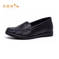红蜻蜓女鞋秋季新款纯色简约百搭舒适轻便一脚蹬休闲鞋单鞋