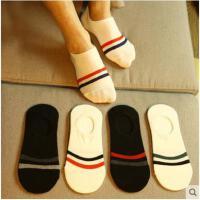 夏季棉袜袜子男短袜浅口运动船袜男士两条杠短筒吸汗袜浅口男人