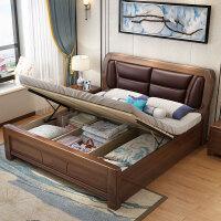 新中式主�P�p人1.8米1.5m�F代��s橡木色�ξ镘�包大床婚床 +乳�z床�|+2床�^柜[�色留言] 1800mm*2000m