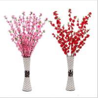 仿真桃花枝假花客厅摆件花单枝绢花塑料花园林工程装饰树落地插花