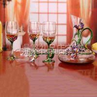幸福鸢尾珐琅彩人造玻璃水晶酒具五件套装 欧式时尚葡萄酒杯醒酒器 创意礼品