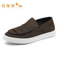 红蜻蜓新款时尚低跟平底套脚轻便舒适休闲帆布鞋男