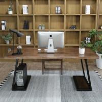 美式铁艺实木台式电脑桌书房书桌工业风复古实木简约办公桌