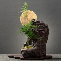 创意盆栽盆景仿古紫砂花盆 室内桌面个性绿植大号透气花器带托盘