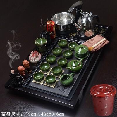 实木茶盘茶具套装紫砂功夫茶具陶瓷礼品全自动电器茶盘茶杯茶壶茶道功夫茶具套装家用整套上善若水系列茶具