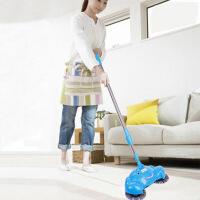 红兔子 时尚家用方便实用伸缩型不锈钢拉杆手推式扫地机不插电吸尘器懒人拖地扫把簸箕套装笤帚 蓝色