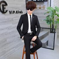 青年商务男士修身小西装百搭免烫西服西裤两件套发型师伴郎职业装