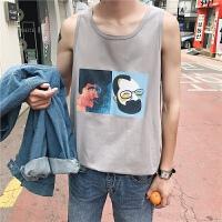 夏季街头字母印花无袖宽肩男士背心港风宽松透气汗衫青年T恤潮