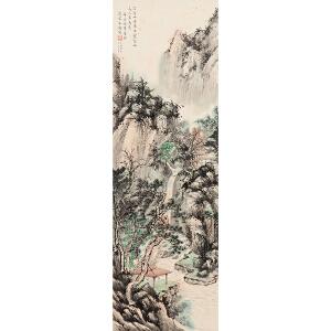 D2716宋美龄《观瀑图》(上款人得自画家本人,上款人是薛岳将军。原装旧裱满斑。)