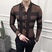 2018春款英伦修身男士格子长袖衬衫青年精品衬