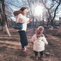史豌豆亲子装冬2017新款可拆卸披肩长款女童宝宝羽绒服母女装外套