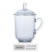 家用耐热玻璃茶杯办公室泡茶杯子带把茶水杯带盖杯茶具 (6号)360ML 如图