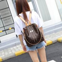 双肩包女2018新款韩版旅行包学院风大容量时尚休闲潮软皮妈咪背包 咖啡色
