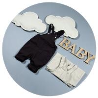 婴儿背带裤韩版春秋夏季薄款0-3个月6宝宝连体裤可开裆男童裤子潮