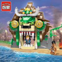 一号玩具 启蒙乐高式积木拼装男孩益智玩具小颗粒拼插模型海盗系列狮王监狱1308