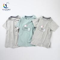 彩桥儿童T恤纯棉儿童打底衫中大童短袖背心家居服男童t恤
