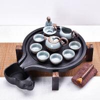 紫砂茶具套装家用功夫陶瓷茶杯储水式茶台茶托茶道实木茶盘s4l