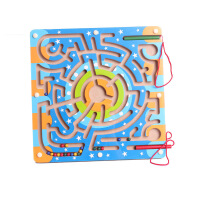 木制运笔迷宫玩具儿童早教认知益智玩具迷彩磁性迷宫