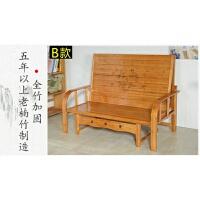折叠床单人床1.2米家用小户型午睡折叠竹床租房用的床沙发床 B款棕色宽板全竹沙发床1.8米 (送床垫+枕头)
