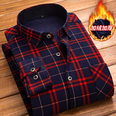 新款保暖衬衫男士长袖加绒加厚格子衬衣潮
