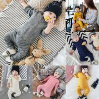 婴儿套装秋冬保暖内衣针织上衣护肚高腰裤子可开档新生宝宝睡衣弹
