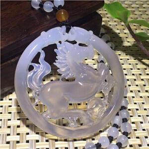 天然淡紫玉髄镂空雕飞马配项链一套,圆雕双面镂空【TQYS2-5(076)】
