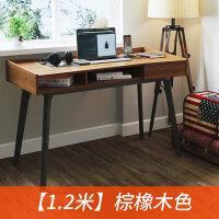 台式电脑桌用卧室书桌简约现代办公桌北欧写字台带抽屉钢木桌子