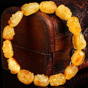 蜜蜡满蜡 红皮俏色十八罗汉手串  直径12mm