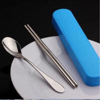 红兔子 不锈钢便携餐具 学生旅行筷子勺子套装 餐具盒三件套 便携餐具套装 颜色随机 颜色随机