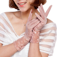 夏开车手套防紫外线遮阳透气棉春中长款女式防晒手套蕾丝